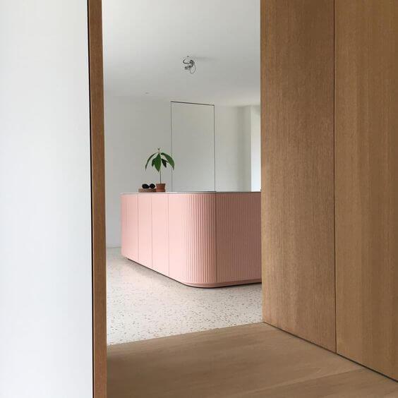 Blush curved island terazzo floor