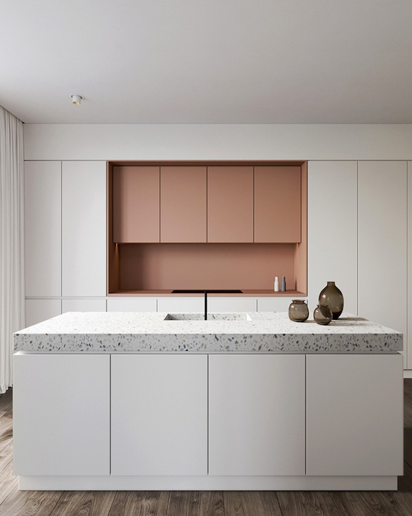 contemporary white and coral kitchen