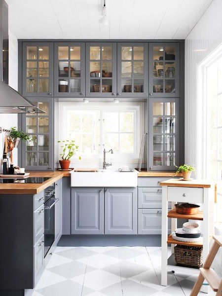 glass cabinets in a small kitchen