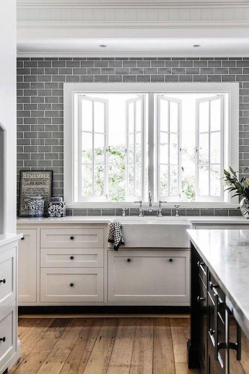 Grey subway splash back | Hamptons kitchen