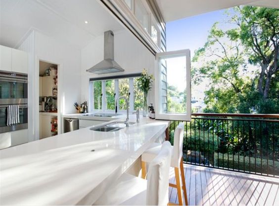 kitchen with overhang to the verandah