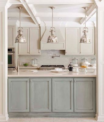 pastel kitchen with nautical lighting