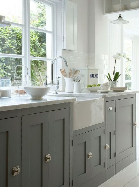 Grey Shaker doors with farm house sink