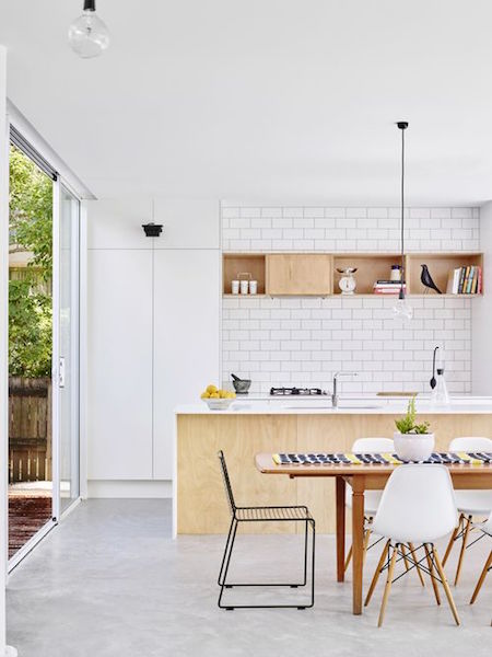a simple white and timber kitchen
