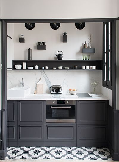 small kitchen in grey | Blue Tea Kitchens