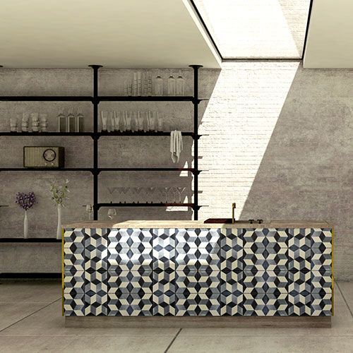 Tiled Geometric Splashback | 2017 Kitchen Trends Blue Tea