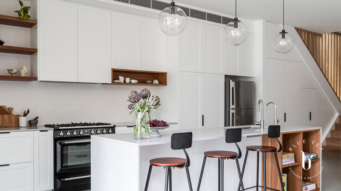 Petersham kitchen, open plan living, a stunning Hamptons kitchen with solid timber spotted gum details