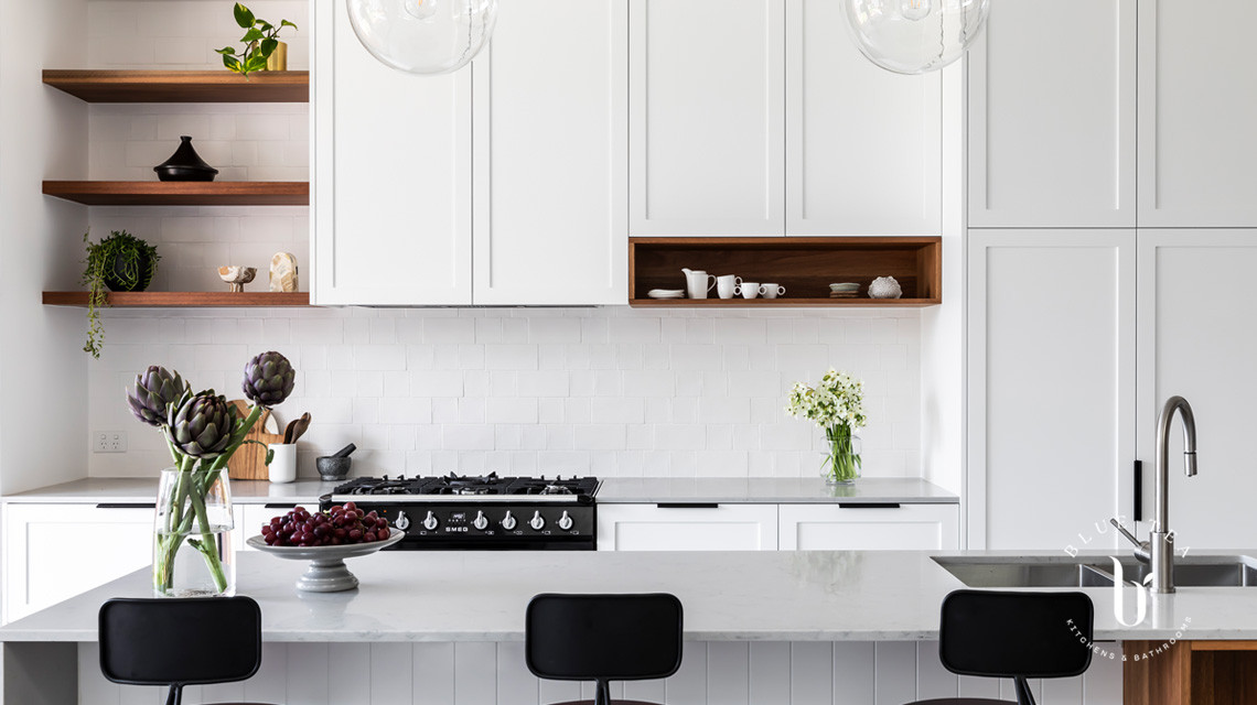 A Hamptons kitchen with a difference Petersham, Sydney. Stunning details, open timber shelves, flush details and a textural subway tiles splashback.