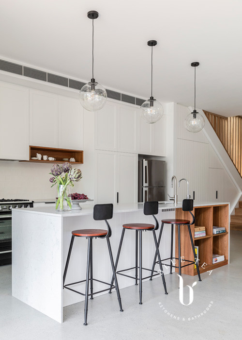 White shaker cabinetry and island design with solid timber joinery details, Petersham, Sydney.