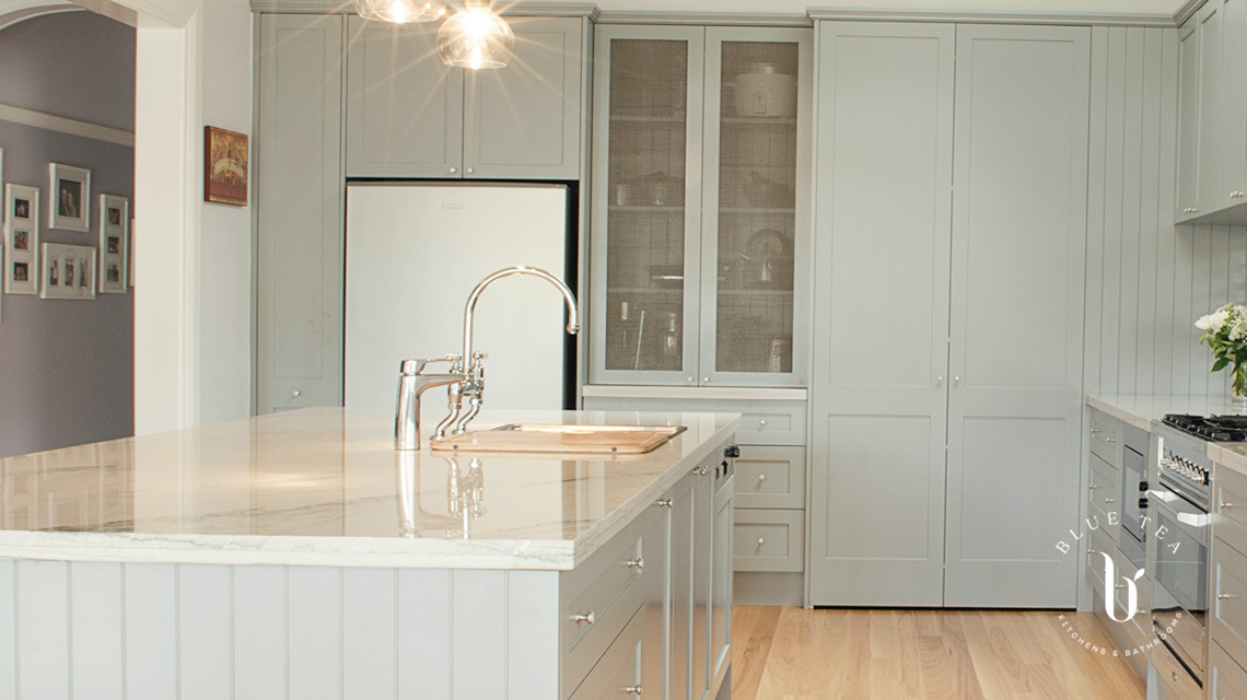 Hamptons Kitchen style with soft grey shaker cabinetry, marble benchtop and island in Kensington, Sydney.