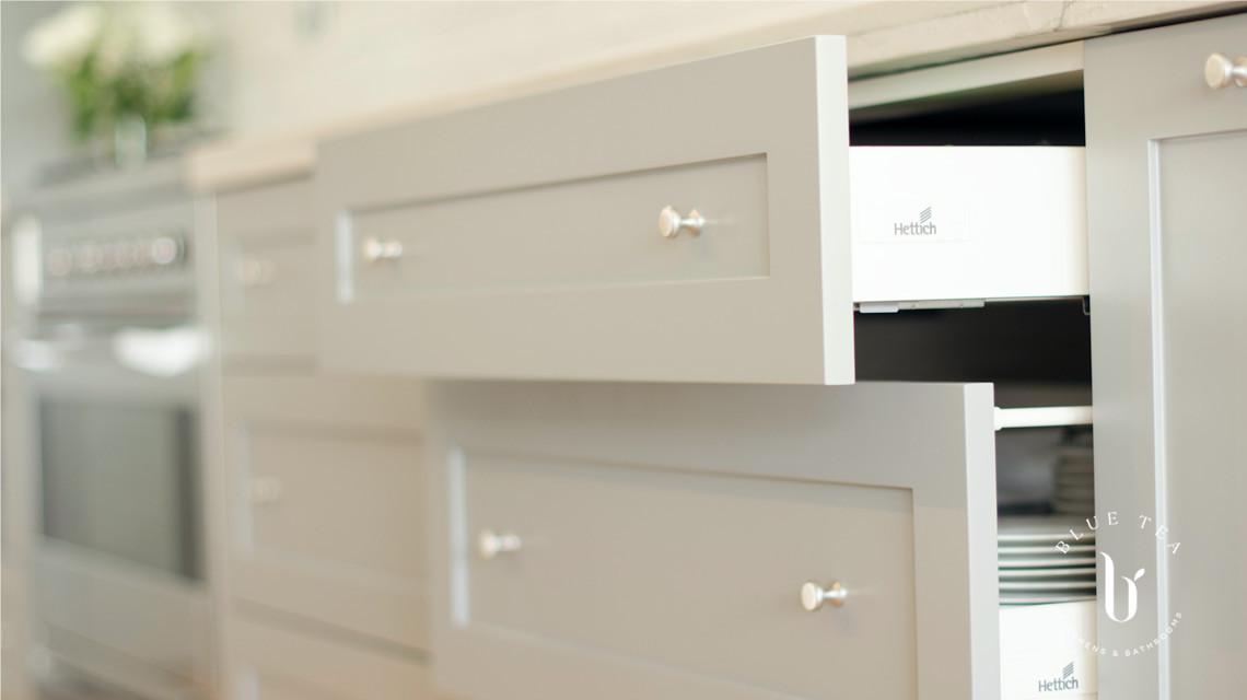 open shaker drawers in hamptons kitchen, Kensington.