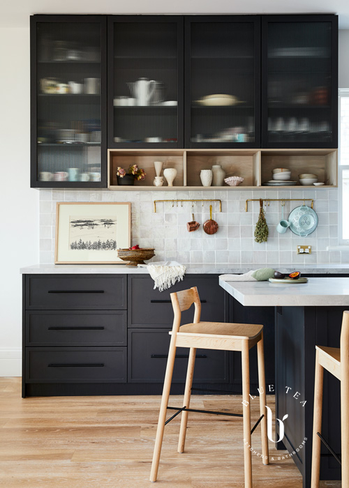 Summer Hill Kitchen Design with fluted glass and timber shelves