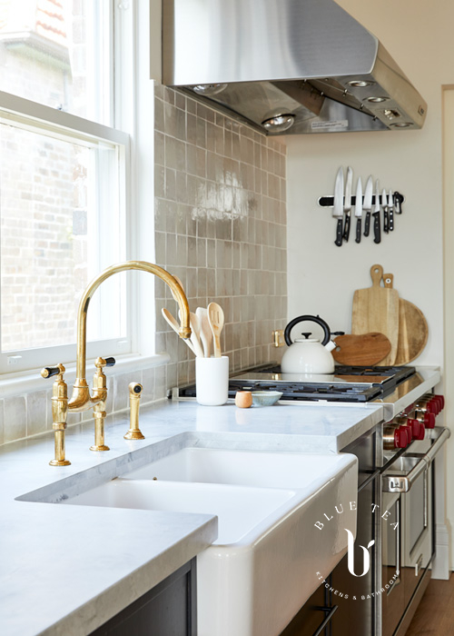 Summer Hill Kitchen Design with brass tap and farmhouse sink