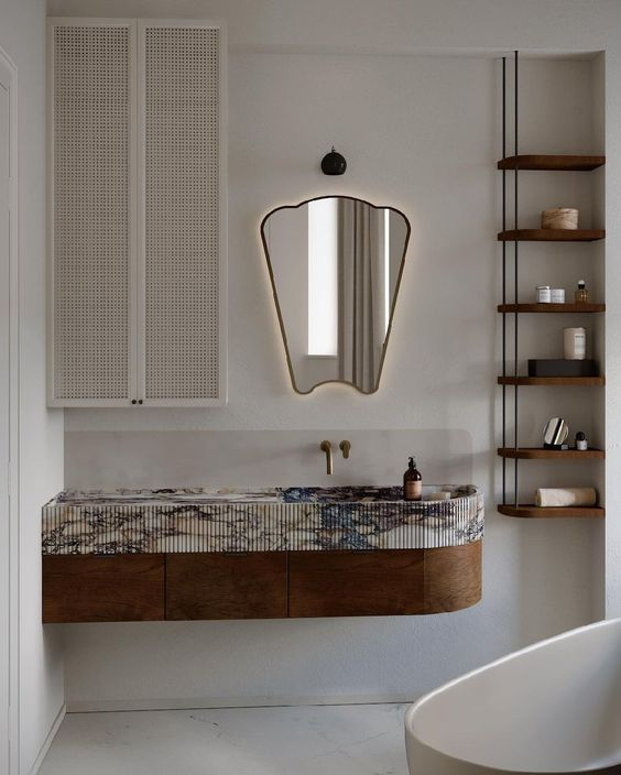 small bathroom cabinet featuring timber and marble details