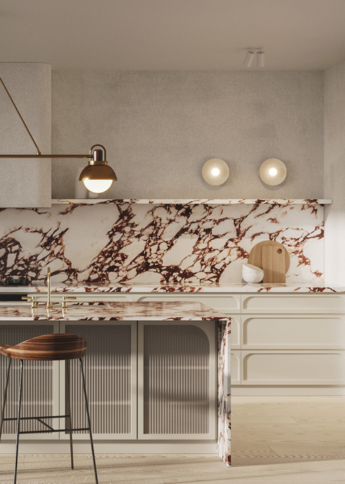 Bellevue hill kitchen concept showcasing fluted glass, slimline curved shaker doors and a striking marble benchtop and spashback.