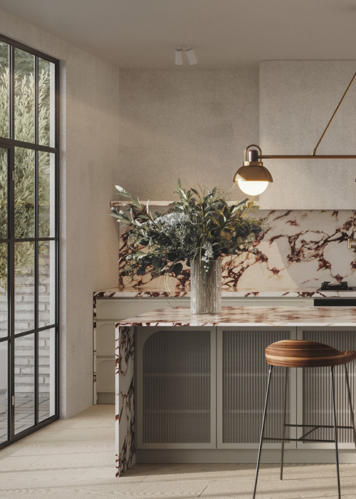 bellevue hill kitchen island with marble, fluted glass, rendered walls and subtle curves