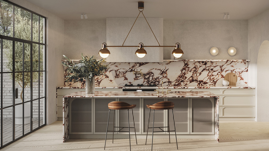 Bellevue Hill Kitchen Concept   Showcasing marble, strong lines, subtle curves and fluted glassBlue Tea Kitchens
